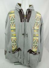 Akademiks Native Worrier Jacket Hoodie Sweatshirt Full Zip Gray Men's 4XL