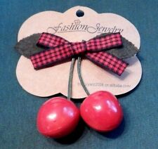 ROCKABILLY CHERRY HAIR CLIP barrette red black gingham ribbon bow punk pin-up H1
