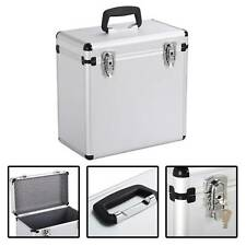 "Vinyl Record Album Case 12"" LP Storage DJ Retro Flight Case Tool Box Silver"