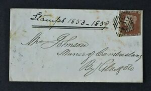 QV, 1841, 1d red-brown imperforate on cover, Tralee Ireland - Glasgow, AU 7 1853