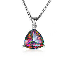 JewelryPalace Mystic Rainbow Topaz Pendent Necklace 925 Sterling Silver 18Inches