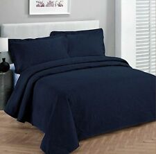 King Size 3 pc Solid  Embossed bedspread Bed Cover New Over size Navy Blue
