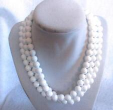 Triple Strand Necklace White Acrylic Beads Gold Tone Hook Clasp 17""