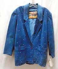 NWT Vintage Atlantic Beach Royal Blue Suede Jacket Rhinestone Accents Size M
