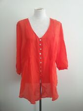 Stitches size 18 orange crush silk blend top with v-neck & three-quarter sleeves
