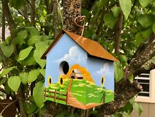 New listing Vintage Birdhouse Polly's Perch 1994 Copper Roof - Signed