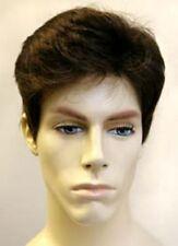 MENS MALE STRAIGHT SHORT HAIR HUMAN HAIR HIGH QUALITY FULL WIG MARK LAYERED BACK
