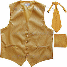 New Men's Vesuvio Napoli Paisley Tuxedo Vest Ascot Cravat Hankie set party Gold