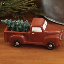 "Little Red Truck With Tree 3"" Figurine - Vintage Rustic Farmhouse Christmas"
