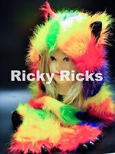 Rave Animal Hood Husky YELLOW Rainbow Hoodie Hat Ear Warm Scarf Monster