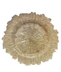 """Gold Glass Charger Plates For Wedding Or Dining 13"""" Diameter"""