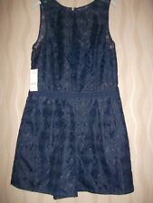 "NEW WITH £60 TAGS NEXT ""TALL"" DIAMOND PATTERN LINED NAVY BLUE PLAYSUIT. SIZE 14."