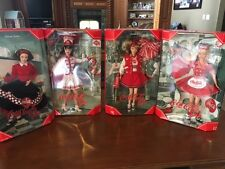 Lot-of-4-Coca-Cola-Barbies-Waitress-Sweetheart-Cheerleader-Majorette NEW