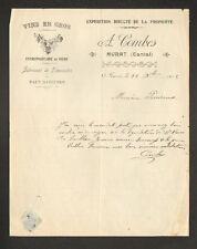 """MURAT (15) BRASSERIE / Fabricant de LIMONADE & EAUX GAZEUSES """"A. COMBES"""" en 1912"""