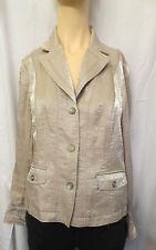 Tribal Lame' tan beige Sportwear Business Jacket Coat Blazer Blouse sz 10