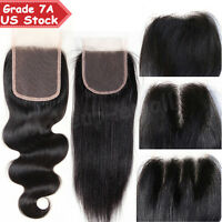 7A 100% Unprocessed Virgin Human Hair Frontal Silk Lace Closure One Bundle US
