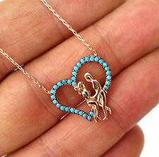 LOVERS IN HEART, TURKISH ROSE 925K STERLING SILVER TURQUOISE NECKLACE #0005