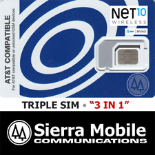 NET10 Triple SIM Card MINI + MICRO + NANO • GSM 4GLTE • AT&T Network MVNO • NEW