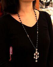 Collier Sautoir Pendantif Chapelier Perle Noir Blanc Croix Email Blanc QT 9