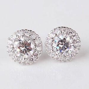 Beautiful 18ct white Gold filled round White topaz crystal stud earrings