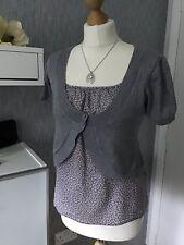 Marks & Spencer Ladies Size 14 Grey Short Sleeved Mock Fronted  With Bolero