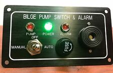 MARINE BOAT BILGE ALARM PUMP SWITCH ALUMINUM PLATE MANUAL AUTOMATIC