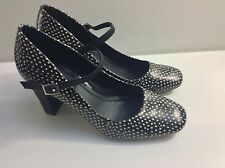 DOROTHY PERKINS Black & White Spotted High Block Heel Mary Jane Shoes Size 6