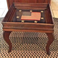 Antique End Table Wood Glass Top American Flag Navy Blue  Stars Fabric 17