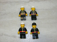 4 LEGO Vintage Classic Town Firefighter Minifigures Fireman Helmets