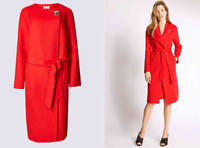 M&S PER UNA Wool Blend Belted Red Coat_ Various Sizes