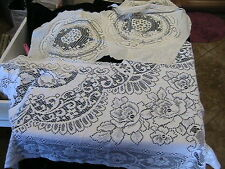 "1980s WHITE ROSES 30"" x 33"" approx & ANTIQUE WHITE DOILES 12-13"" round, Lot of 4"
