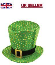 Irish Leprechaun Shamrock Velvet Topper Hat With Gold Buckle St Patrick's Day.