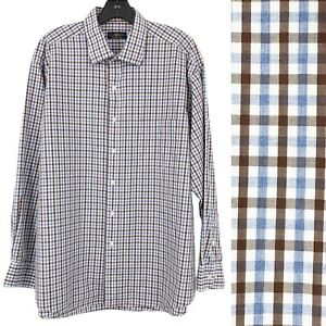 Club Room Plaid Dress Shirt Button Up Regular Men's Size 34/35 17.5 Blue & Brown