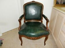Antique Louis Xv Style Green Leather Arm Chair