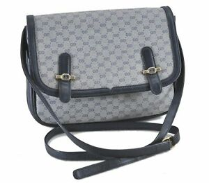 Authentic GUCCI Micro GG PVC Leather Shoulder Cross Body Bag Navy Blue E0976