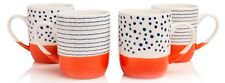 Sabichi Orange & White  4 Piece Mug Set New Bone China Tea Coffee Mugs Cups