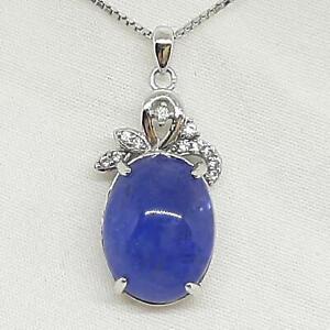 Genuine 10.60ctw Tanzanite & Diamond Cut White Sapphire 925 Silver Pendant