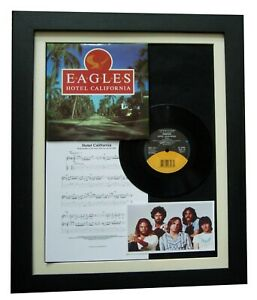 "EAGLES Hotel California 7"" VINYL TOP QUALITY FRAMED DISPLAY+EXPRESS GLOBAL SHIP"