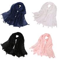 Women Cotton Long Scarf Muslim Sequin Shawl Tassel Headwear Arab Hijab Scarves