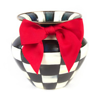 MacKenzie-Childs Courtly Check Enamel Large Vase - Red Bow