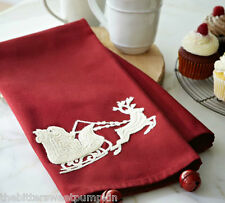 POTTERY BARN~SLEIGH BELL CREWEL EMBROIDERED KITCHEN TOWEL~BRAND NEW IN PKG