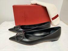 Valentino Garavani VLOGO Pointed Toe Ballet Flat (Women) 8.5US / 38.5EU, BLACK