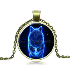 Vintage Fluorescence Wolf Cabochon Bronze Glass Chain Pendant Necklace AG13