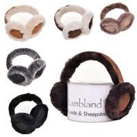 Ladies Womens Soft Fluffy Luxurious Genuine Sheepskin Suede Adjustable Earmuffs