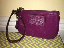 Coach Poppy Deep Purple Patent Leather Wristlet Coin Purse Clutch