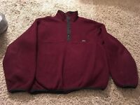 Woolrich Polartec Burgundy Snap Pullover Fleece Sweatshirt, Size L, Made In USA!
