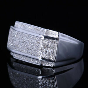 Solid 10K White Gold WEDDING PAVE DIAMOND GENEROUS FINE Ring Men's Party Jewelry