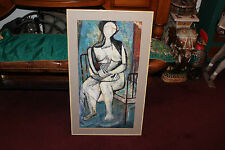 Original Vintage Cubist Painting Signed Reisman-Woman Sitting In Metal Bed