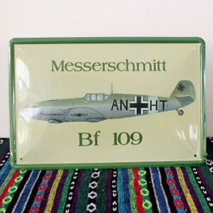 """BF 109 Fighter Tin Poster Vintage Metal Sign Home Bar Art Wall Decor 12""""x8"""""""