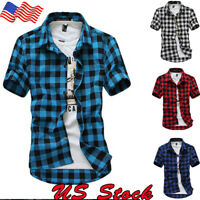 US Mens Short Sleeve Casual Top Check Shirt Brave Soul Flannel Brushed Cotton